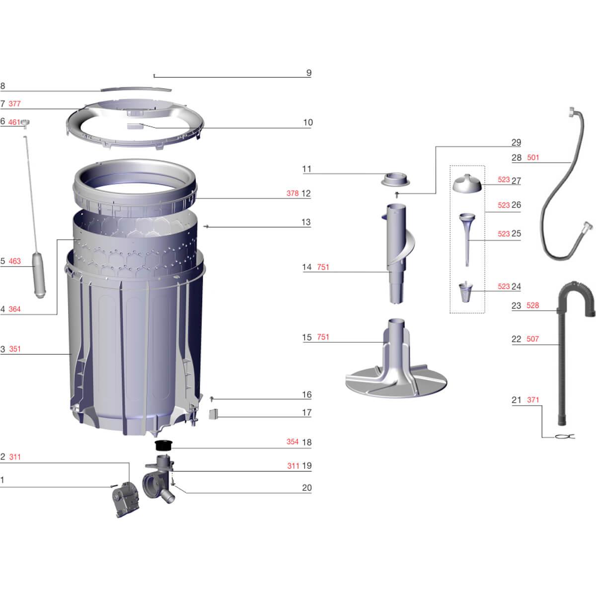 Conjunto Suporte Do Filtro Para Lavadora De Roupas Electrolux - 67402059