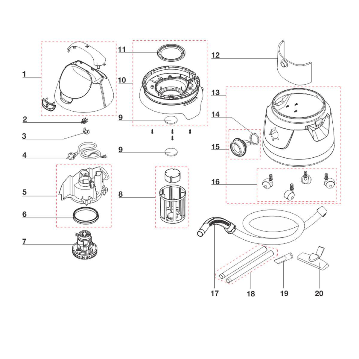Conjunto Suporte Inferior A10N1 Aspirador De Pó e Água Electrolux -  70004253