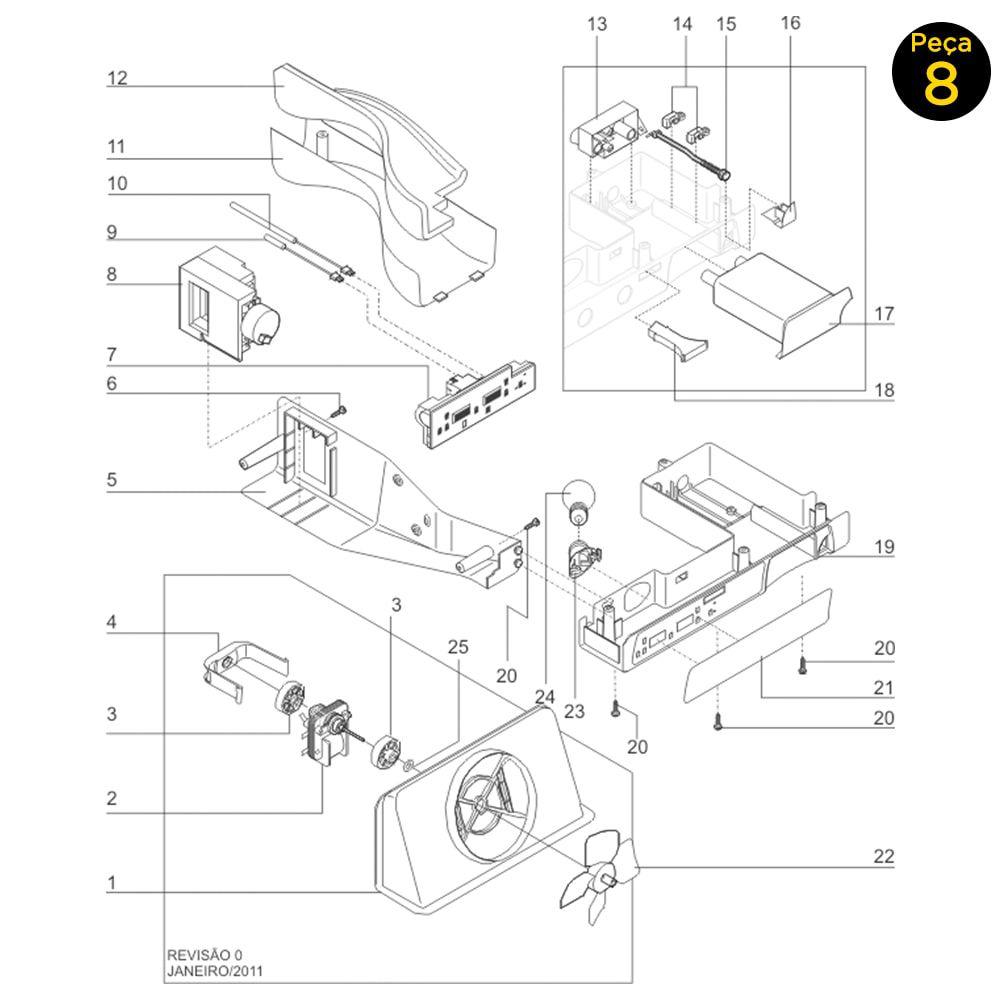 Damper 127V Para Geladeira Electrolux Side By Syde Ss75 Ss76x Ss77x - 242303001