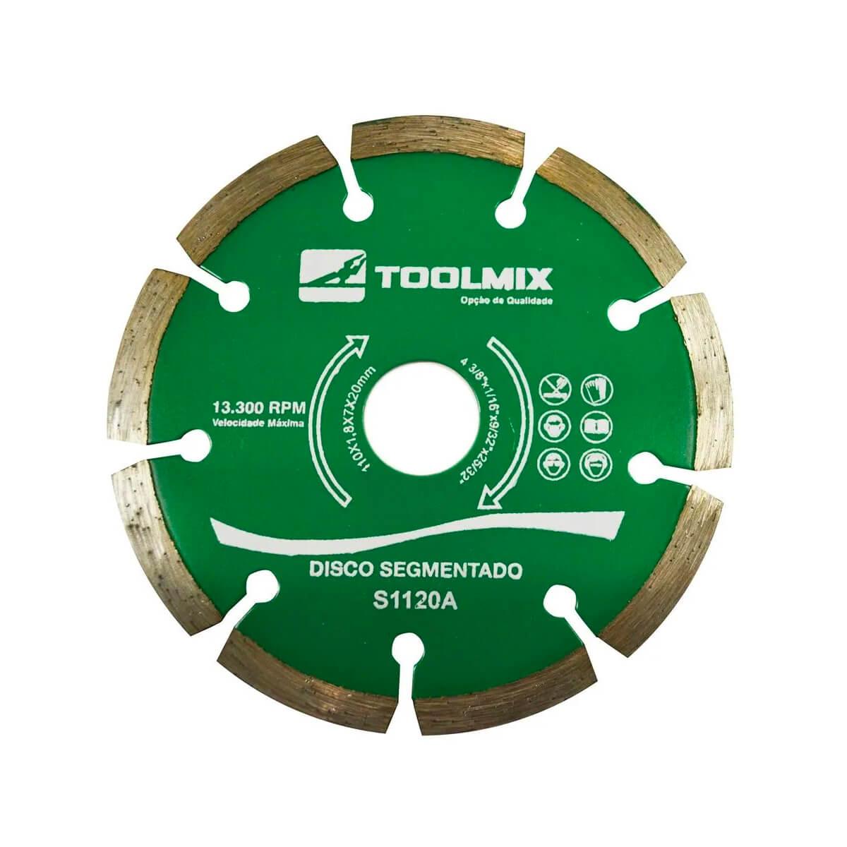 Disco Diamantado Segmentado 110X1,8X22,2MM Toolmix - S1120A