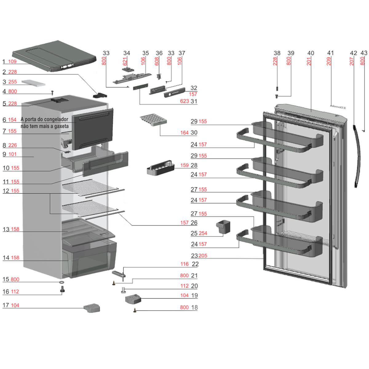 Divisória Do Freezer Refrigerador Electrolux RFE38 RFE39 - 70200658