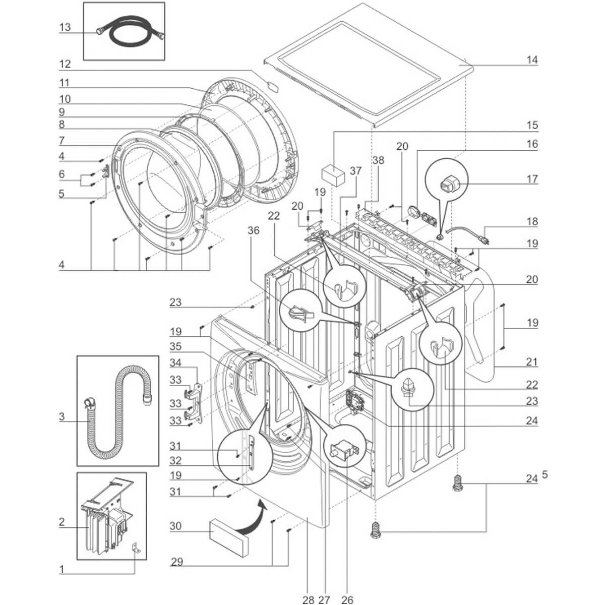 Dobradiça Da Porta Para Lava e Seca Electrolux TRW10 TRW12 - 34550800