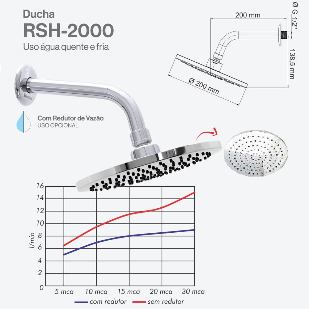 Ducha Para Aquecedor a Gás Rinnai - RSH-2000
