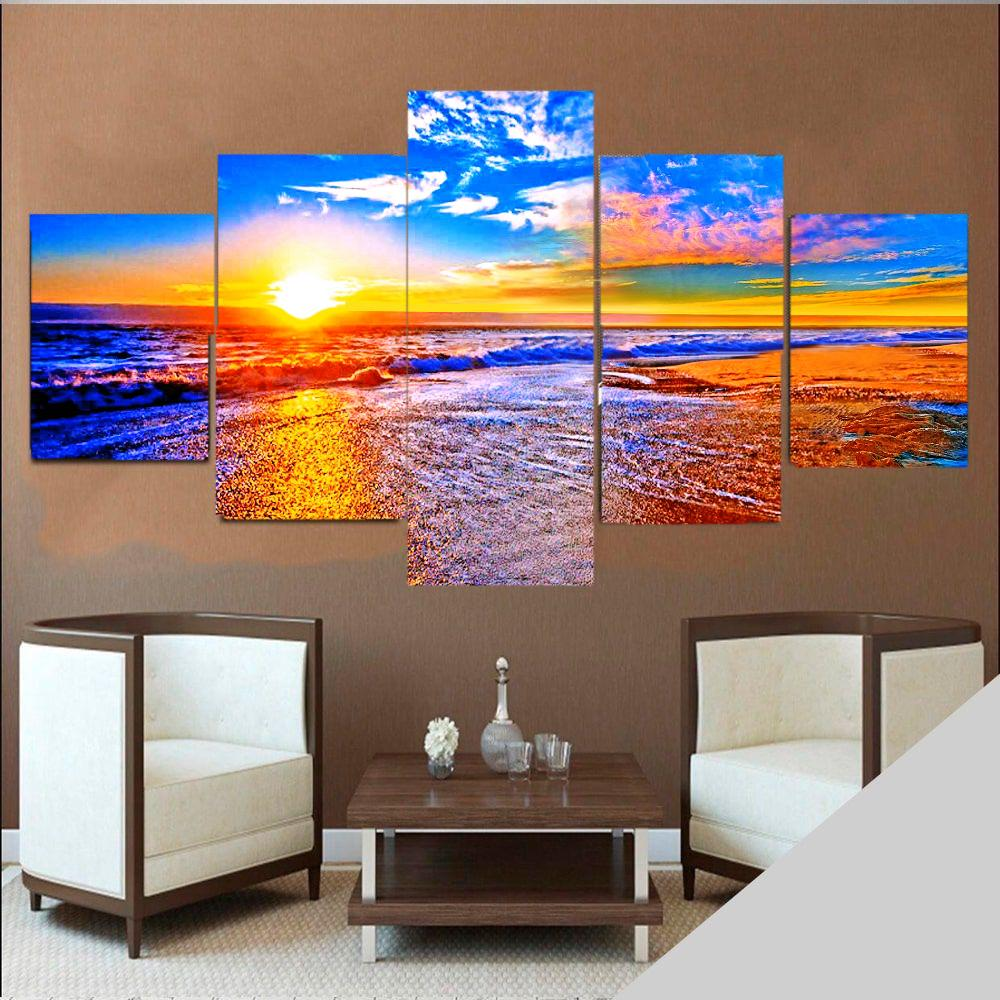 Quadro Por do Sol mar  mosaico 5 quadros