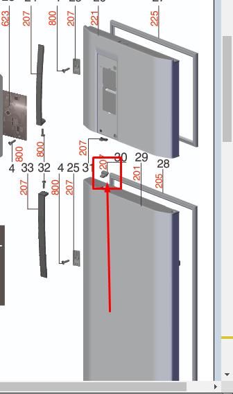 Fixador Puxador Moderno Geladeira Electrolux TF51X TF52X DB52X DT52X - A07412402
