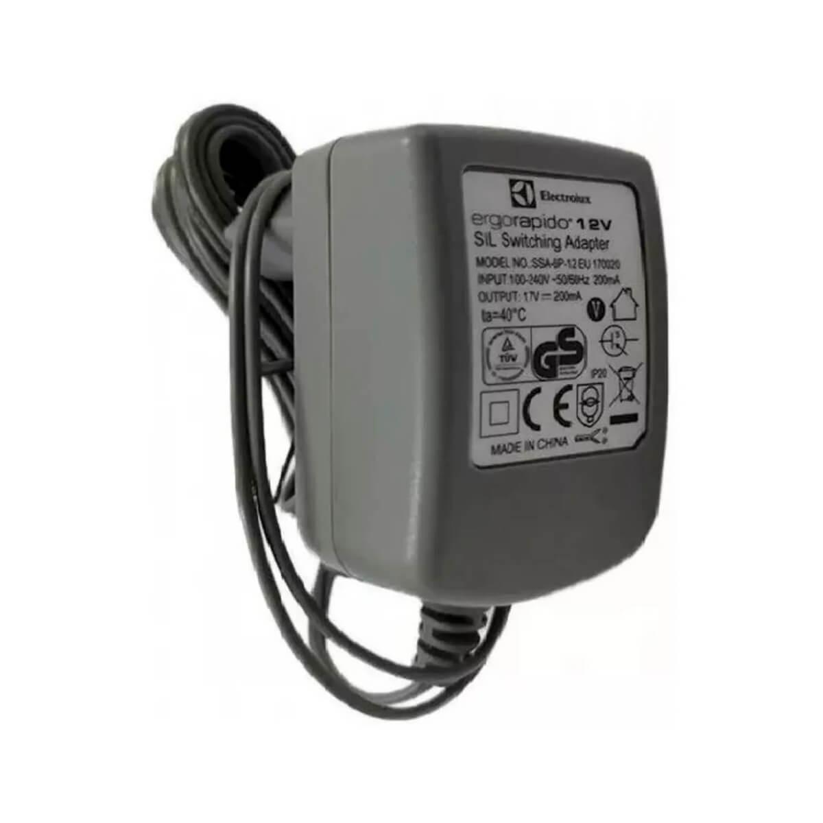 Fonte Carregador Para Aspirador de Pó Ergorapido Electrolux 12v  ERG12 ERG13 ERG14 - A12900301