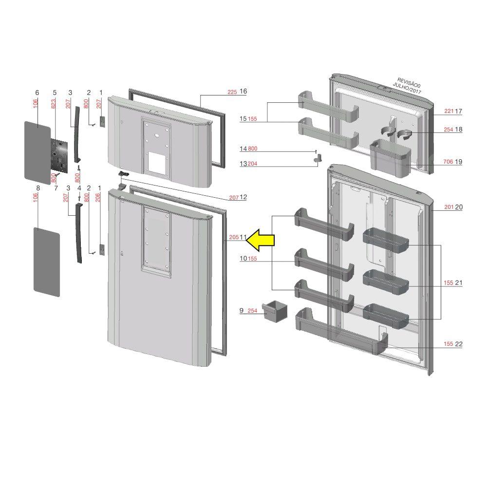 Gaxeta Inferior Para Refrigerador DI80X DT80X DF80X DF80 DFI80 DF82 DF82X Electrolux - A03625416