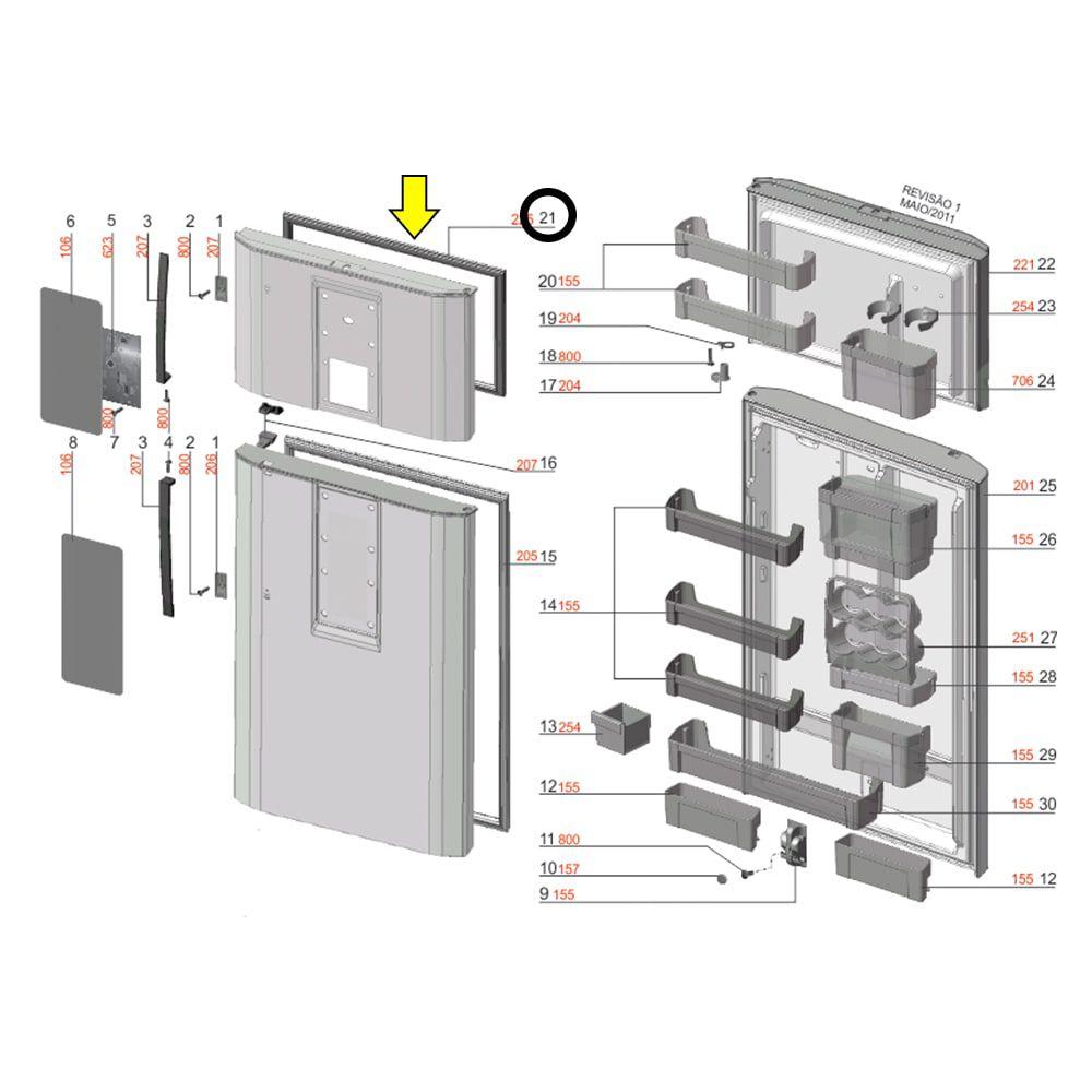 Gaxeta Porta Superior Freezer Refrigerador Electrolux DF80 DF80X DFI80 DI80X DT80X - 67390844
