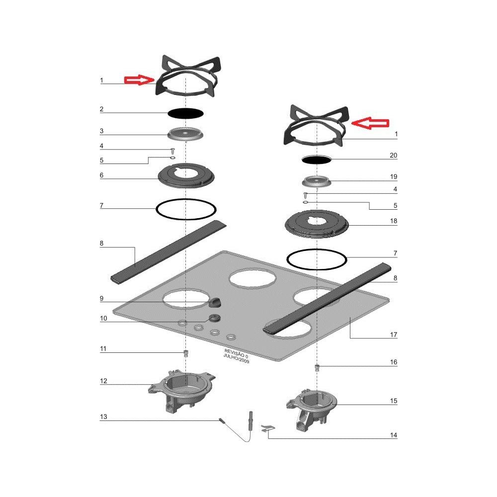 Grade Individual Tempre Para Cooktop Electrolux GC60V GC75V GC60G GC75G - 72000080