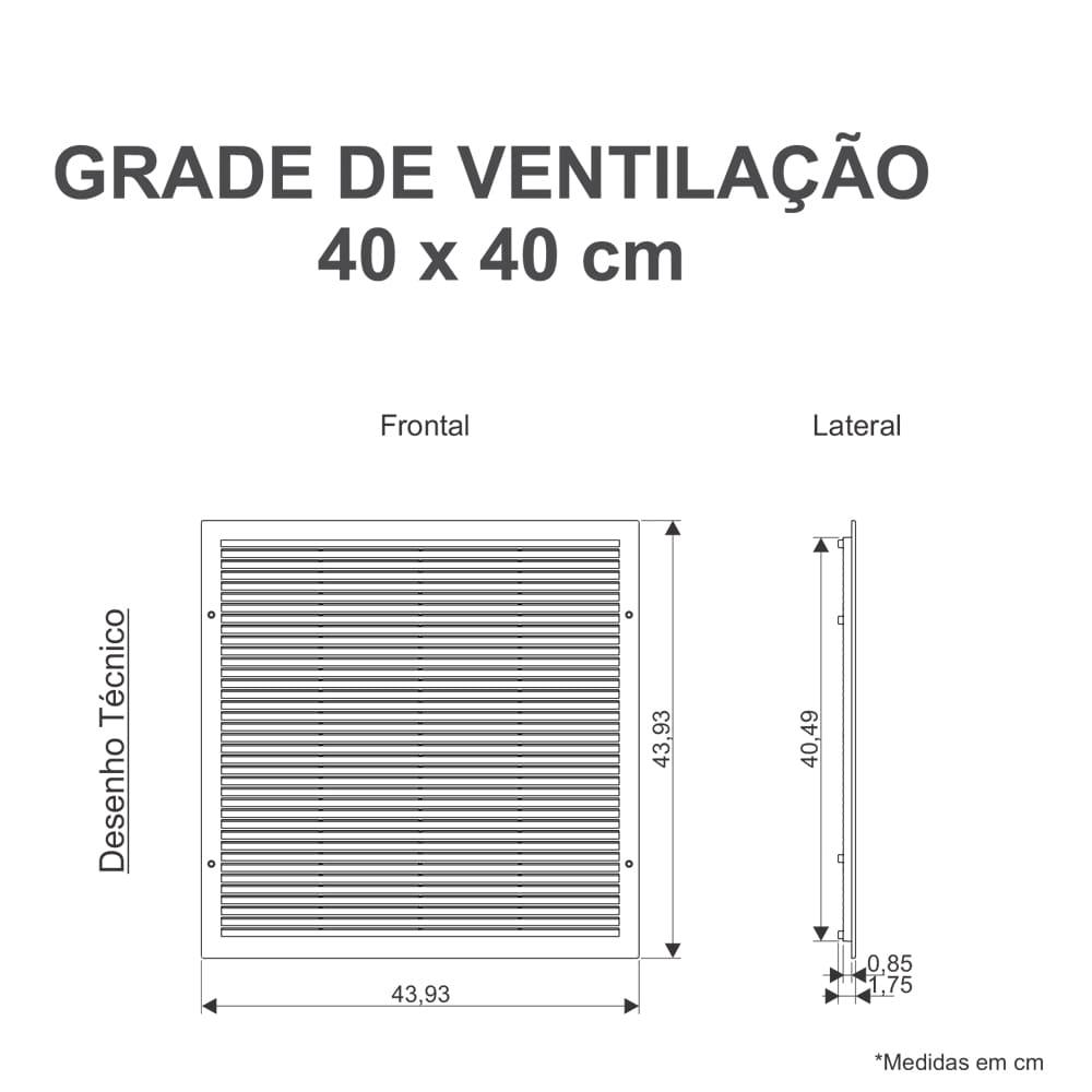 Grade Ventilação De Encaixe 40x40cm
