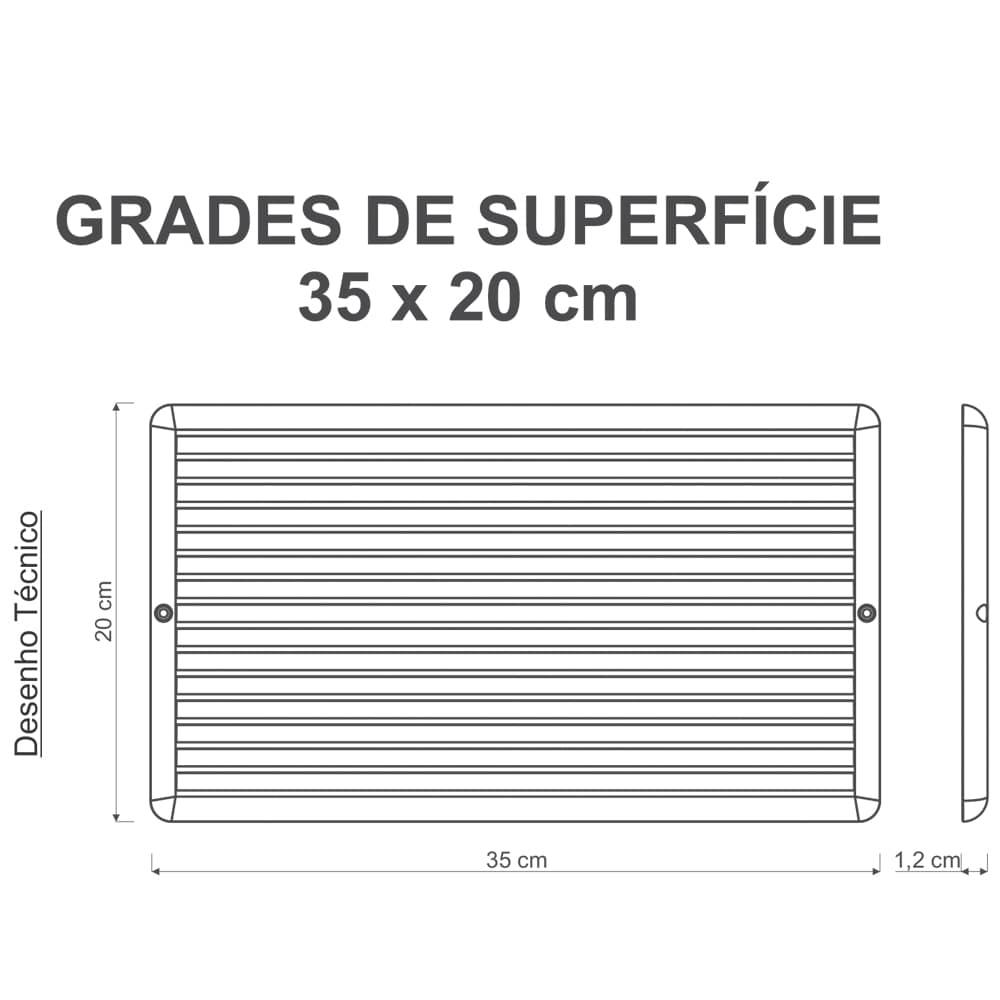 Grade Ventilação De Superfície 35x20cm Com Tela Anti-Inseto
