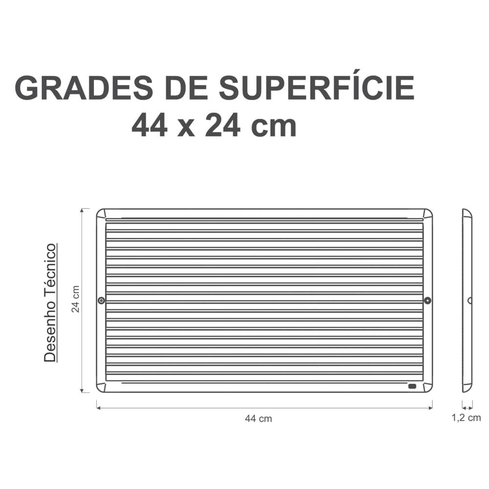 Grade Ventilação De Superfície 44x24cm Com Tela Anti-Inseto