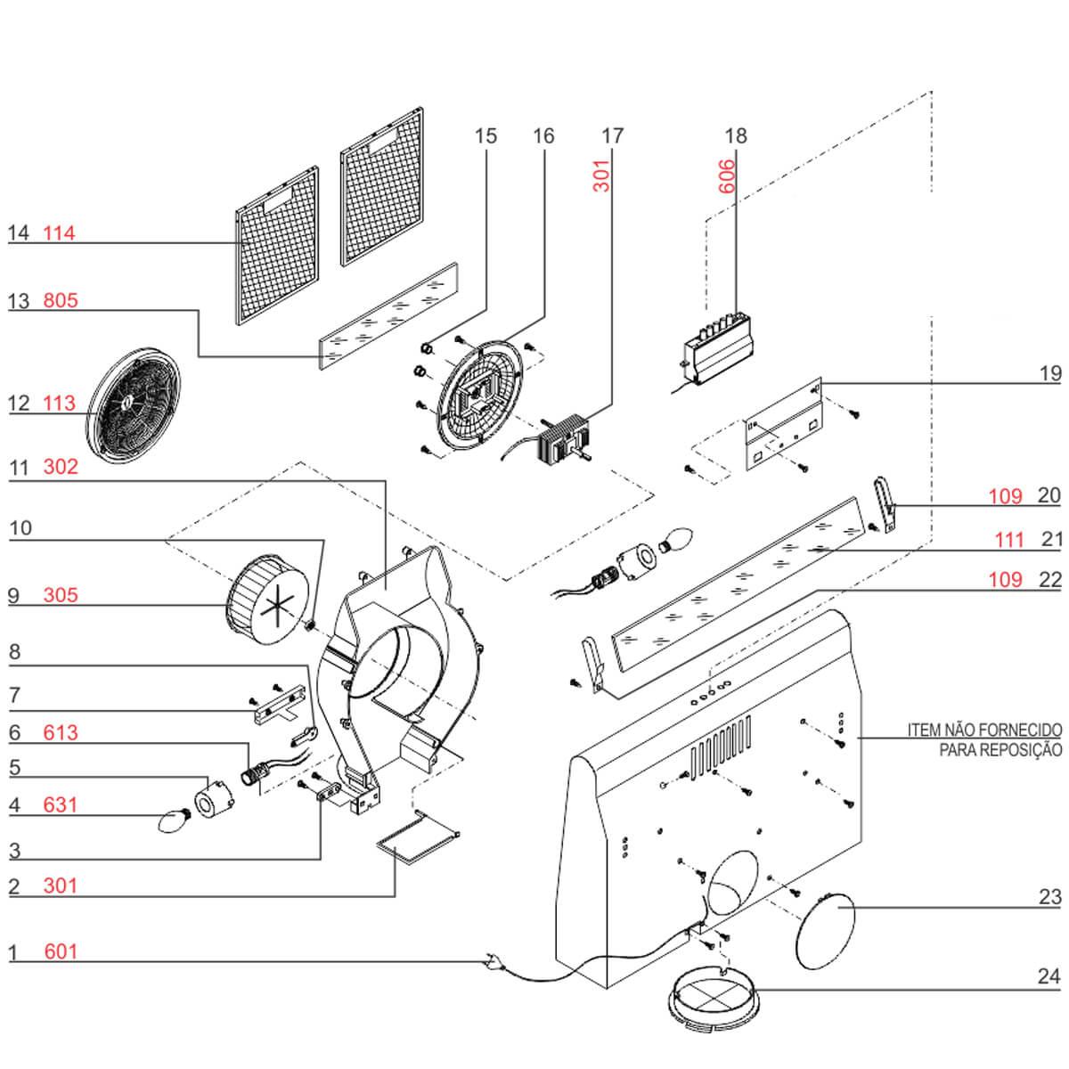Interruptor Completo Para Depurador De Ar Electrolux DE60B DE60X DE80B DE80X - E251000