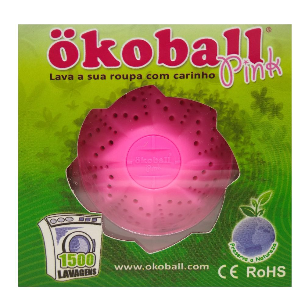 Kit 2 Unidades Esfera de Plástico Ecológica Rosa Para Lavar Roupas Okoball
