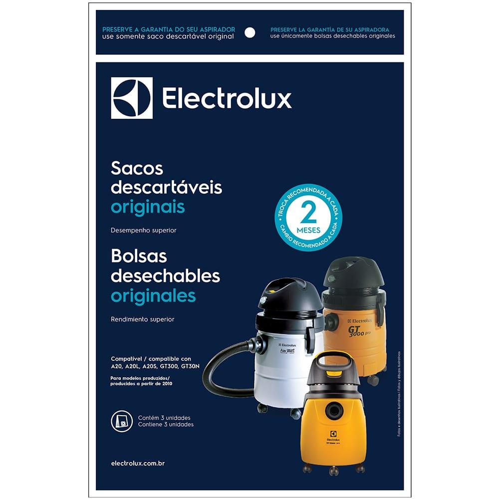 Kit 3 Sacos Descartáveis Para Aspirador de Pó Electrolux A20 / GT3000 CSE20 - 70035080