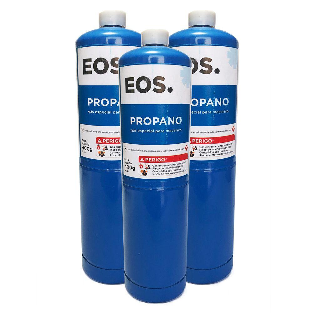 Kit 3 Unidades Cilindro de Gás Propano 400g EOS