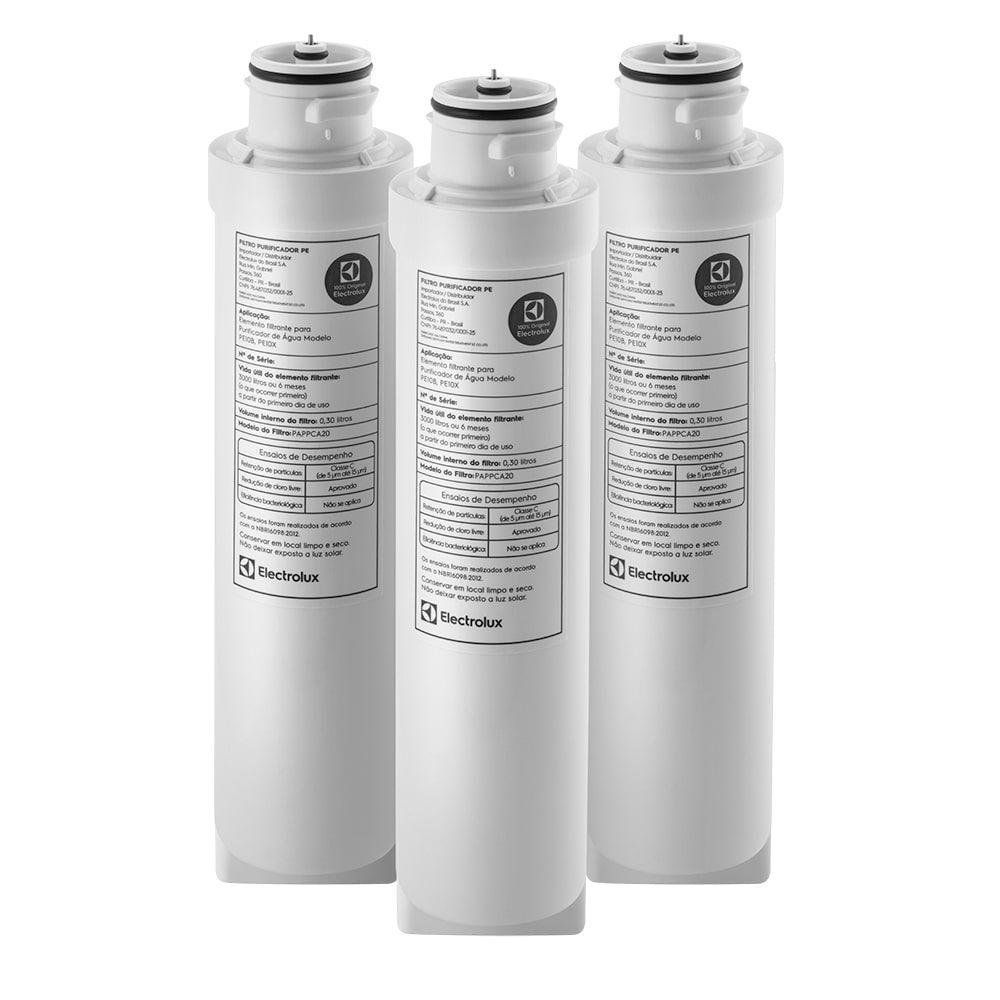 Kit 3 Unidades Filtro Refil Purificador De Água Electrolux Pe10b Pe10x - 80000703