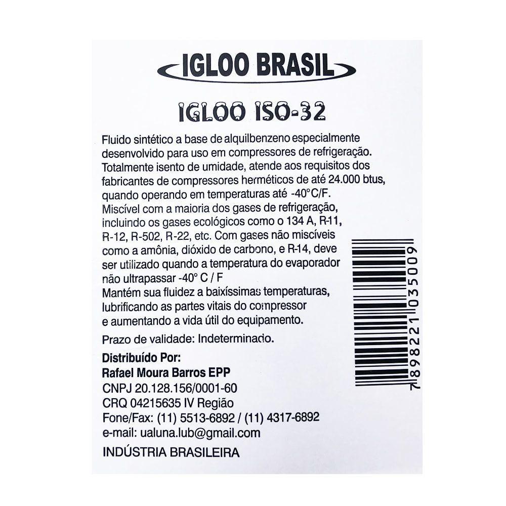 Kit 5 Unidades Óleo Lubrificante Sintético Para Compressores de Refrigeração ISO 32 IGLOO 1L