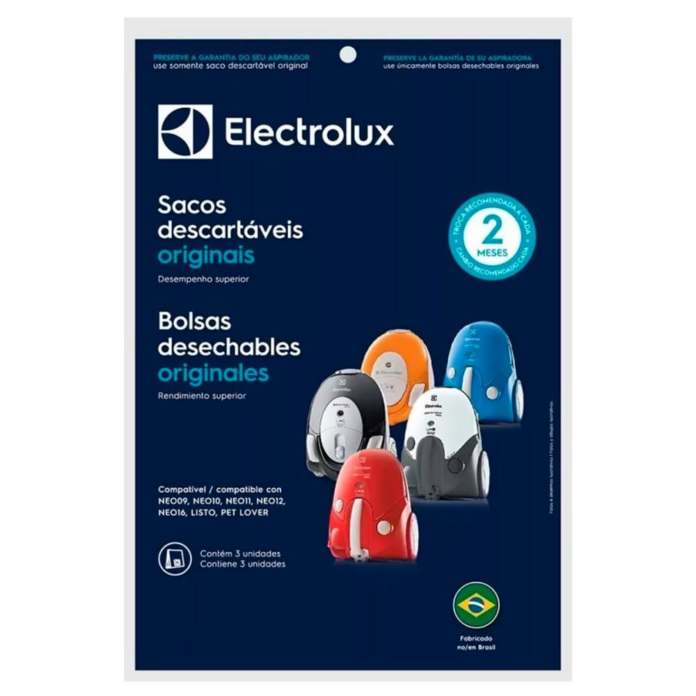 Kit Com 30 Sacos Filtro Para Aspirador Pó Electrolux NEO LISTO PET LOVER - DT30APBR001