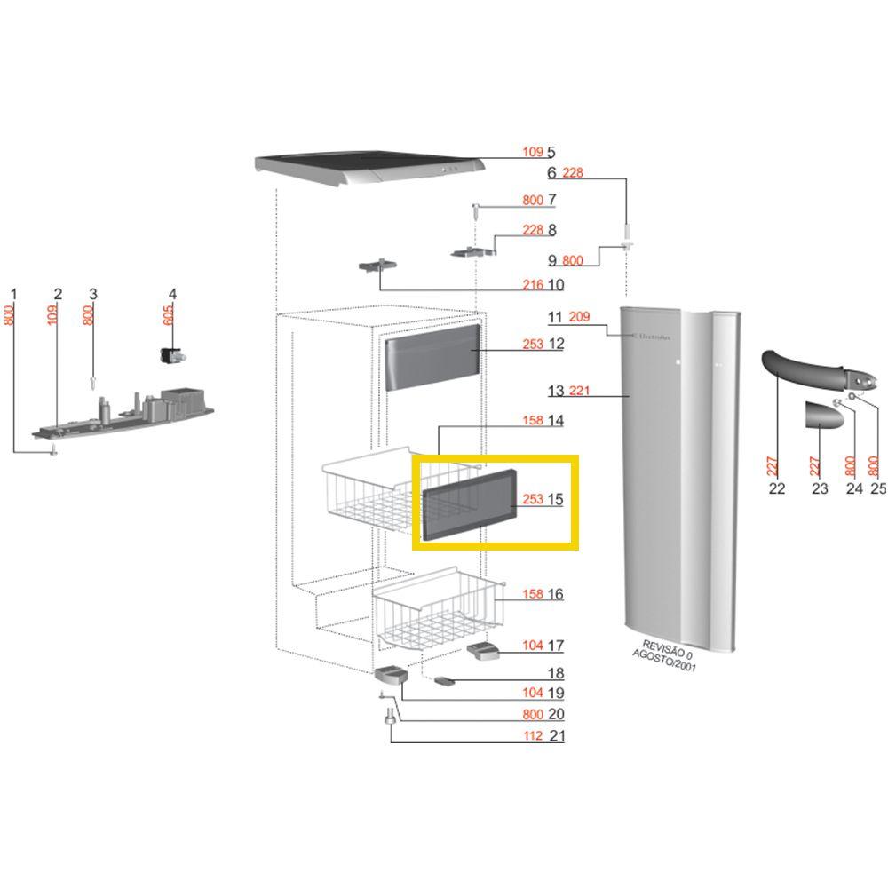Kit com 4 Tampas Frontal Da Gaveta Cesto Para Freezer Vertical Electrolux - 77187372