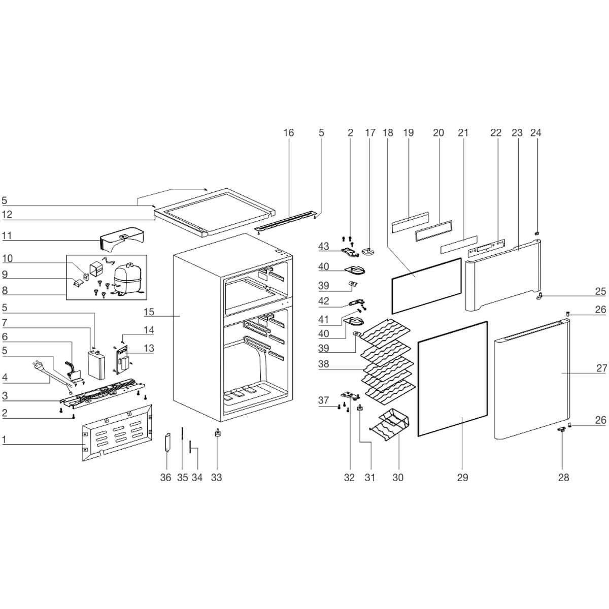 Kit Gaxeta Superior e Inferior Da Adega Electrolux ACD29 - 501108860001 / 501108860002
