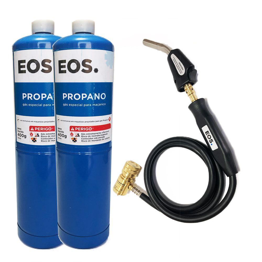 Kit Maçarico Portátil 1,5M EOS-SFT-3 + 2 Cilindro de Gás Propano 400g EOS