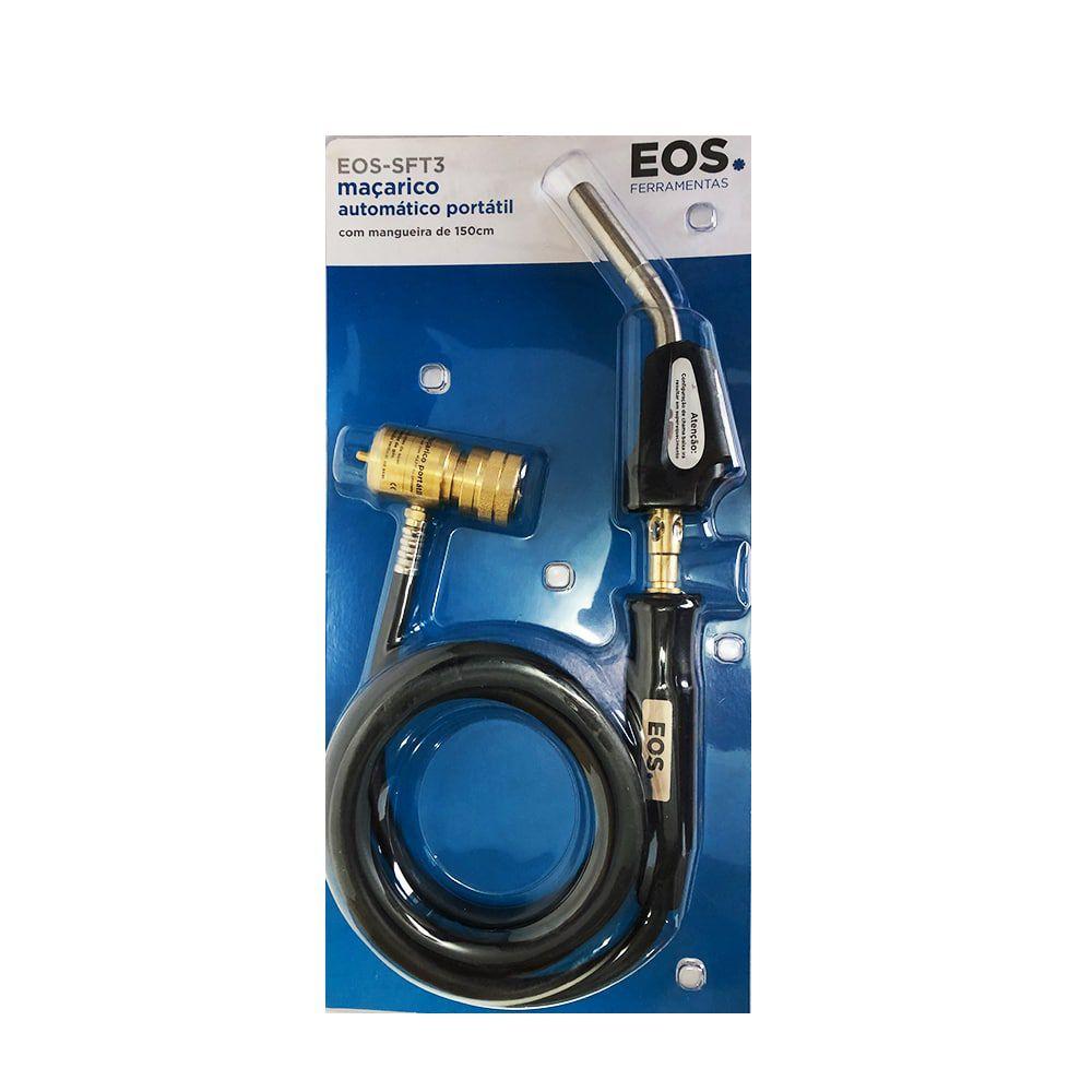 Kit Maçarico Portátil 1,5M EOS-SFT-3 + 3 Cilindro de Gás Propano 400g EOS