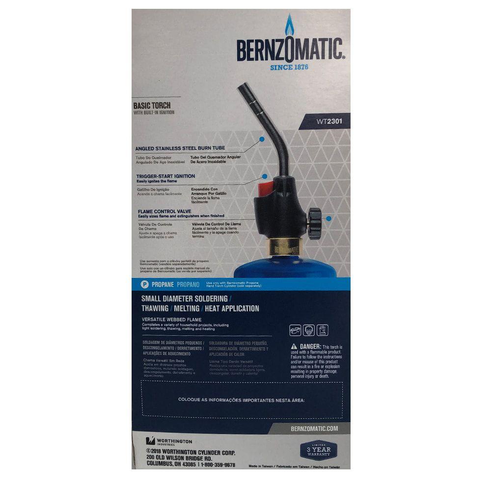 Kit Maçarico Portátil Berzomatic - WT2301 + 3 Cilindro de Gás Propano 400g EOS