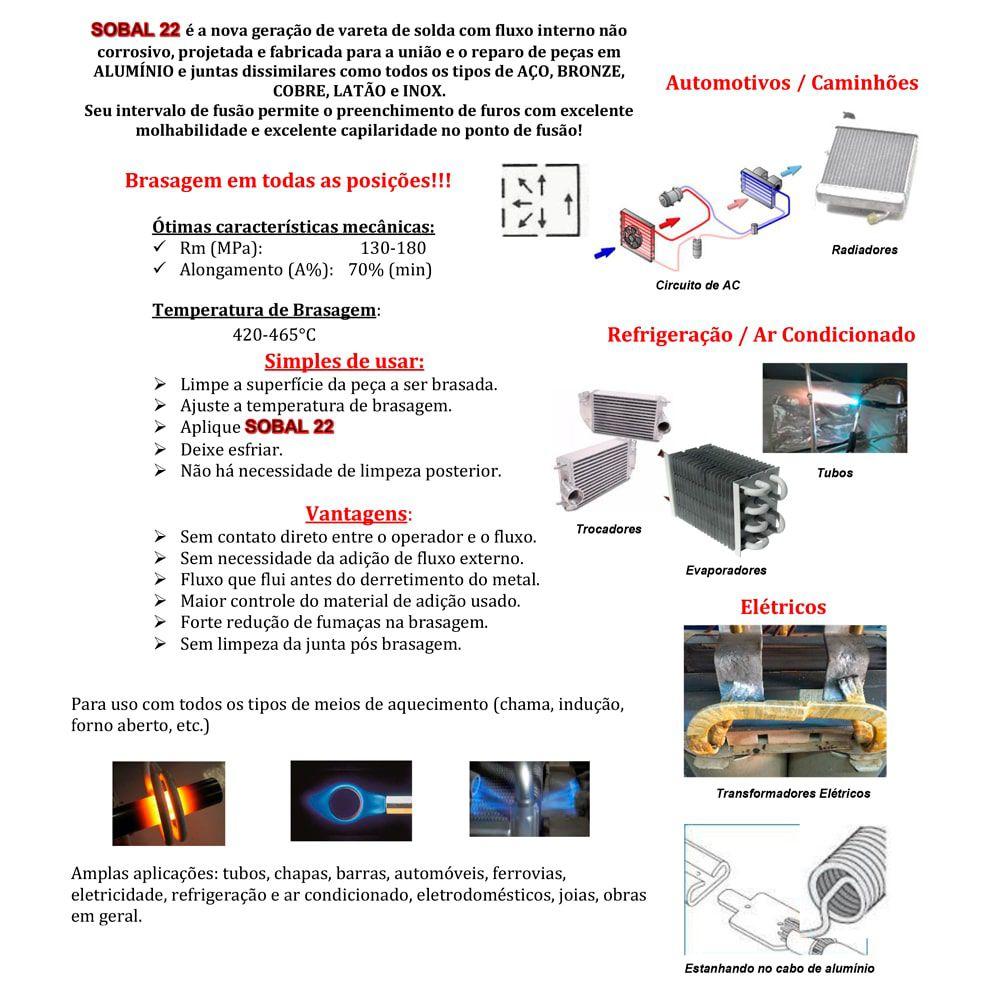 Kit Solda + 10 Unidades Vareta de Solda Alumínio Com Fluxo Interno Sobal 22