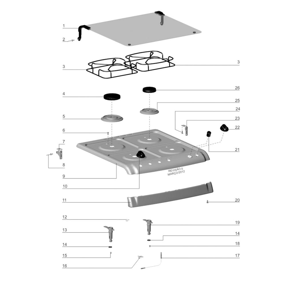 Manipulo Botão Mesa Fogão Electrolux 52SB 52SRB 52SPX 52SM 76SPB 76DPB 50ERB 50ERX - 70001752