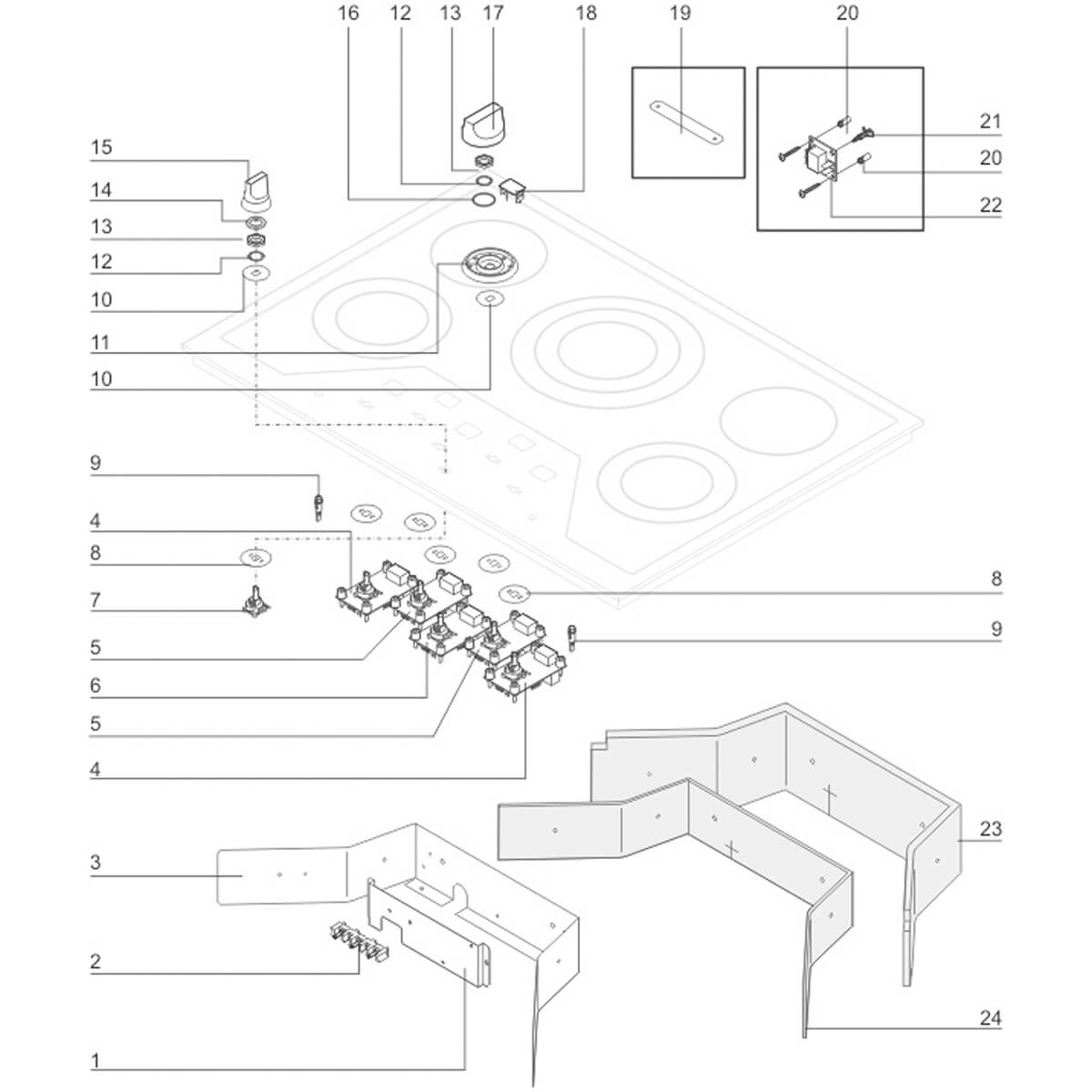 Manipulo Mesa Do Cooktop Elétrico Electrolux ECI65 - 18319101
