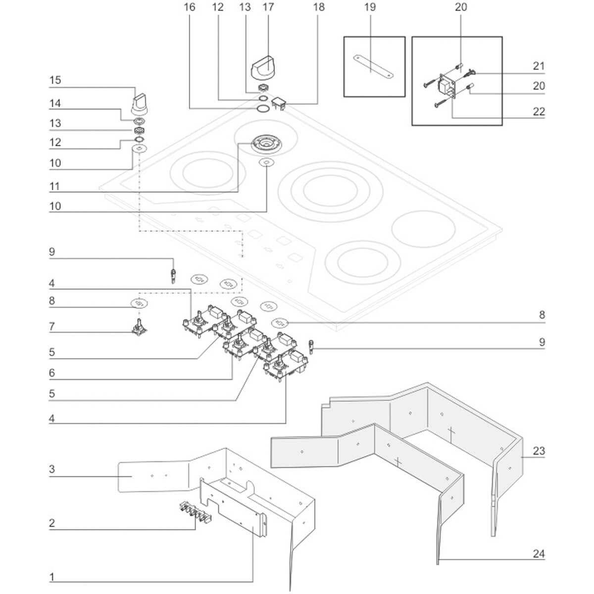 Manipulo Seletor Preto Do Cooktop Elétrico Electrolux ECI65 - 18314700