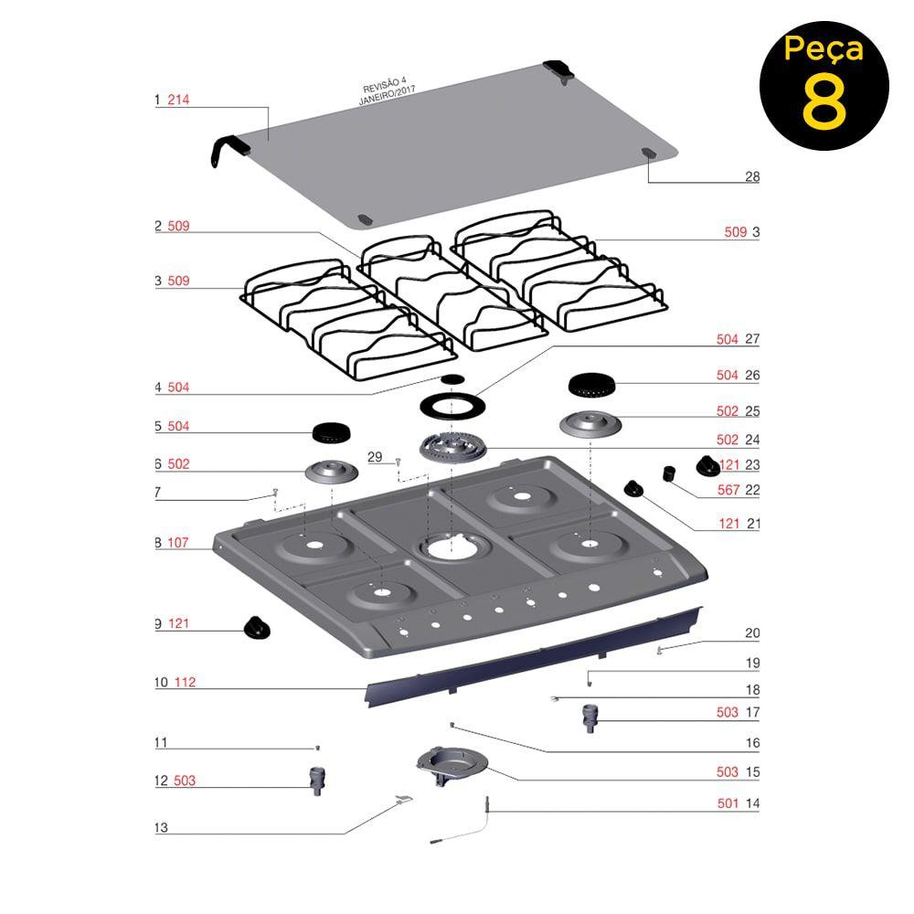 Mesa De Inox Fogão 76spb Electrolux - 70003858