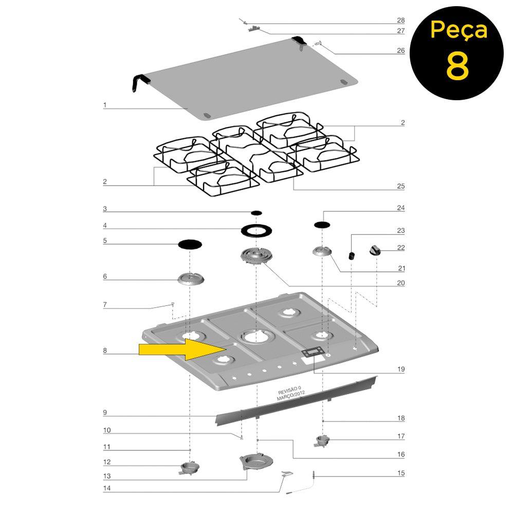 Mesa Inox 5 Queimadores 1 Cavidade Fogão Electrolux 5 Bocas 76SRB 76SRX - 70002522
