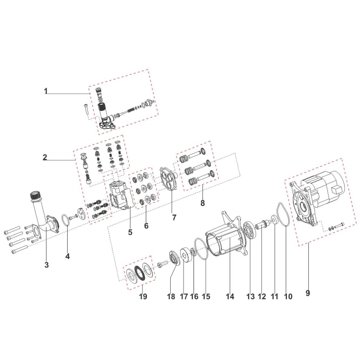 Motor Para Lavadora De Alta Pressão EWS 14,5A, 1800W 127V - EWS10027 A07705001