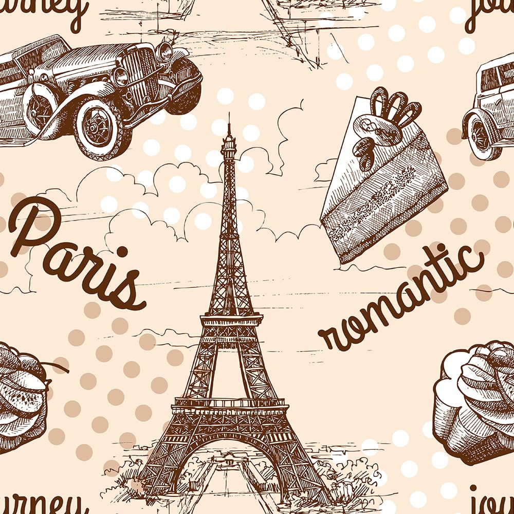 Papel de Parede Adesivo Paris Torre Eiffel Requinte 3mx58cm Lavável - Casual 93