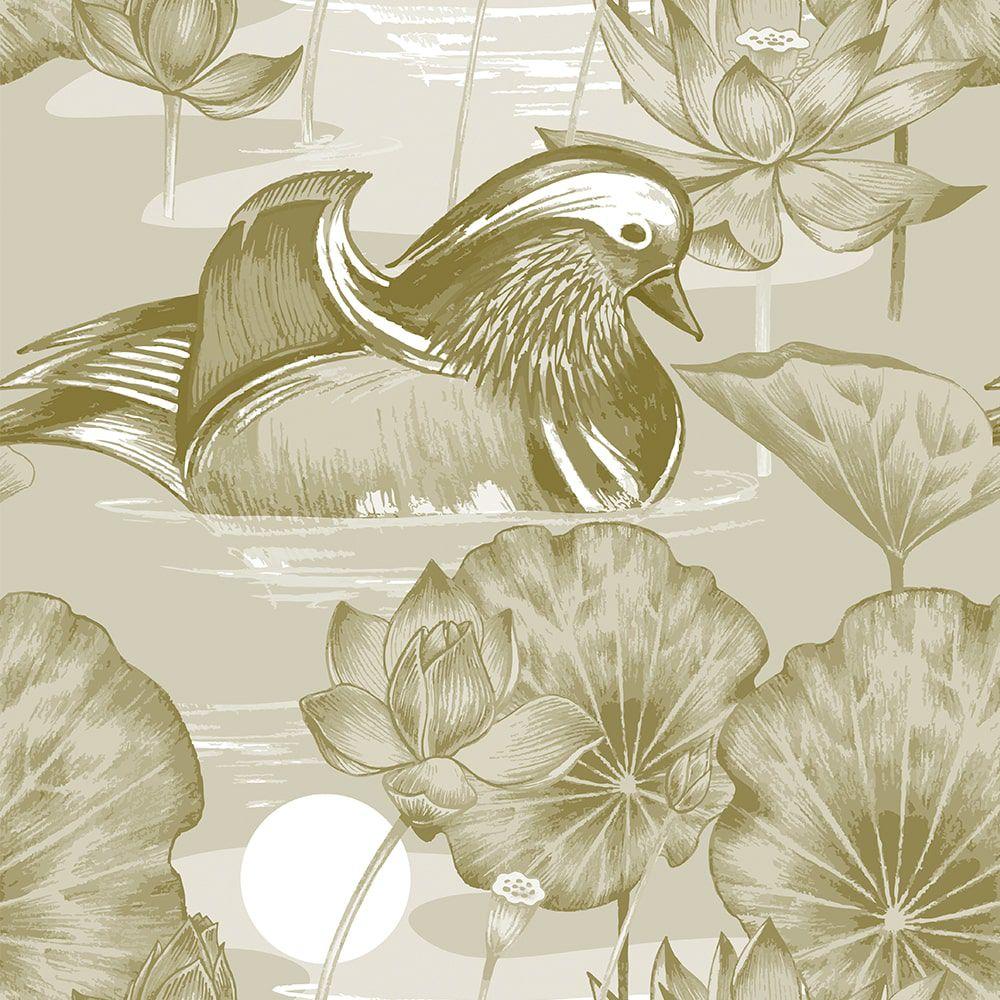 Papel de Parede Adesivo Pato Floral Requinte 3mx58cm Lavável - Casual 112