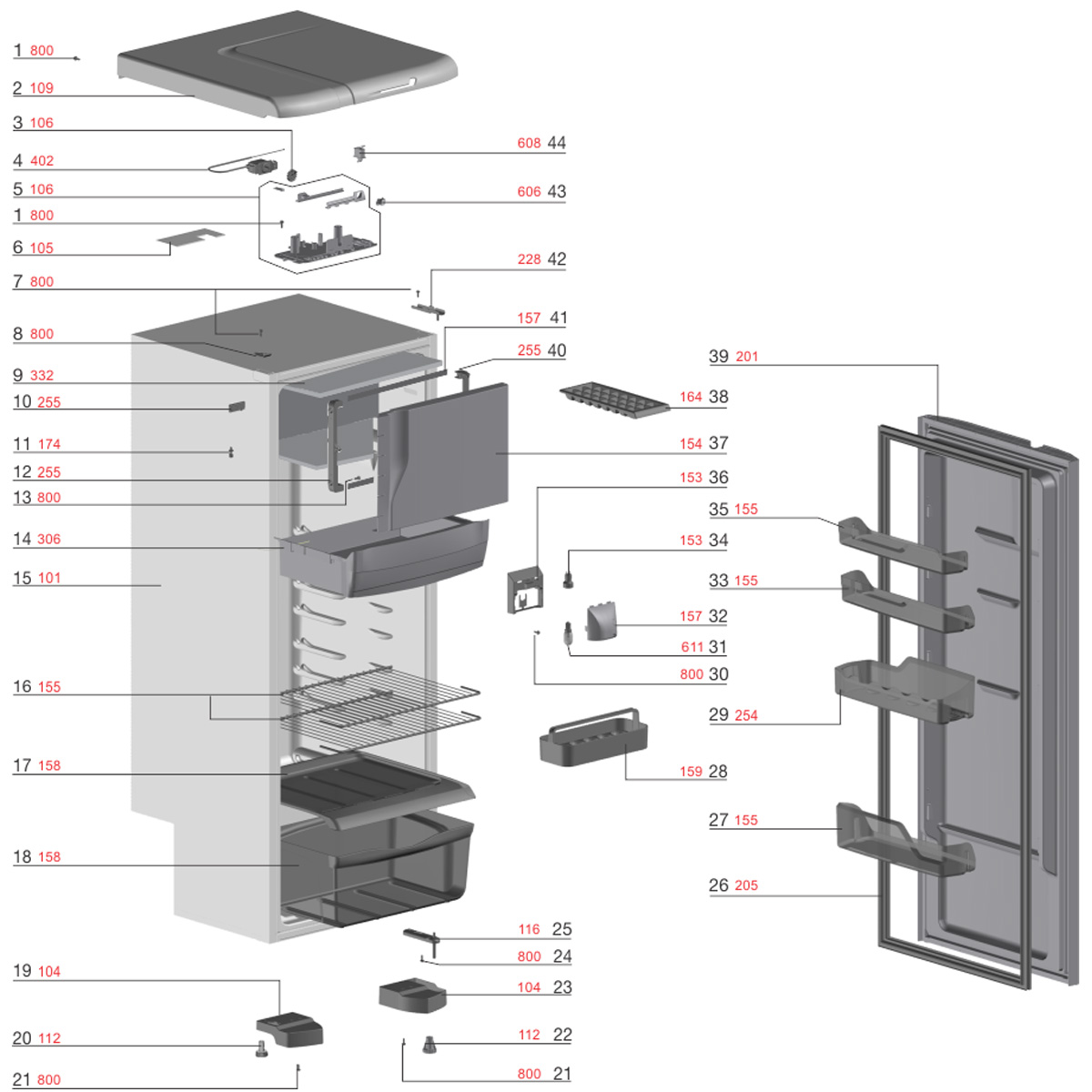 Pé Nivelador Para Refrigerador/Freezer Electrolux TW42S TC41  TC44S DF44 - 60017320