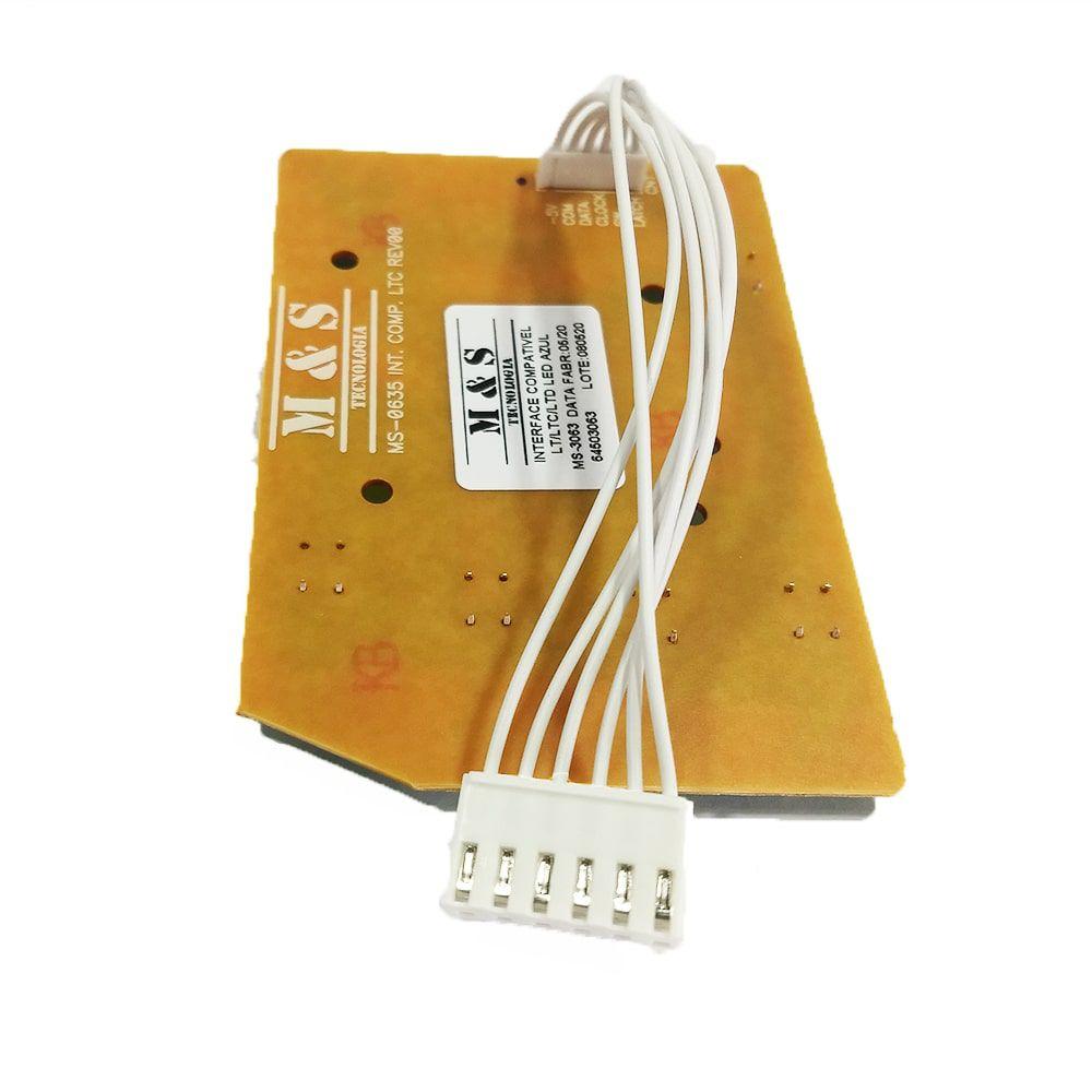 Placa Interface Lavadora de Roupas Electrolux Led Azul M&S LAC13 LTD15 LT13B LAC09 LPE16 LAC16 LES13 LES15 LTD09 LTD11 LT12F LT15F LT10B LT12B LTD13 LAC11 LAC12  - 64503063