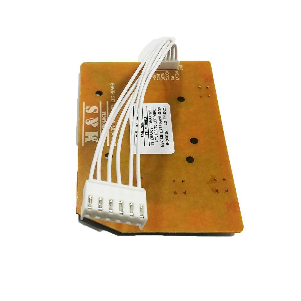 Placa Interface Lavadora De Roupas Electrolux Led Verde M&S LTC10 LTC12 LTC15 LT11F LT15F LT12F LTD09 LTD11  - 64500135