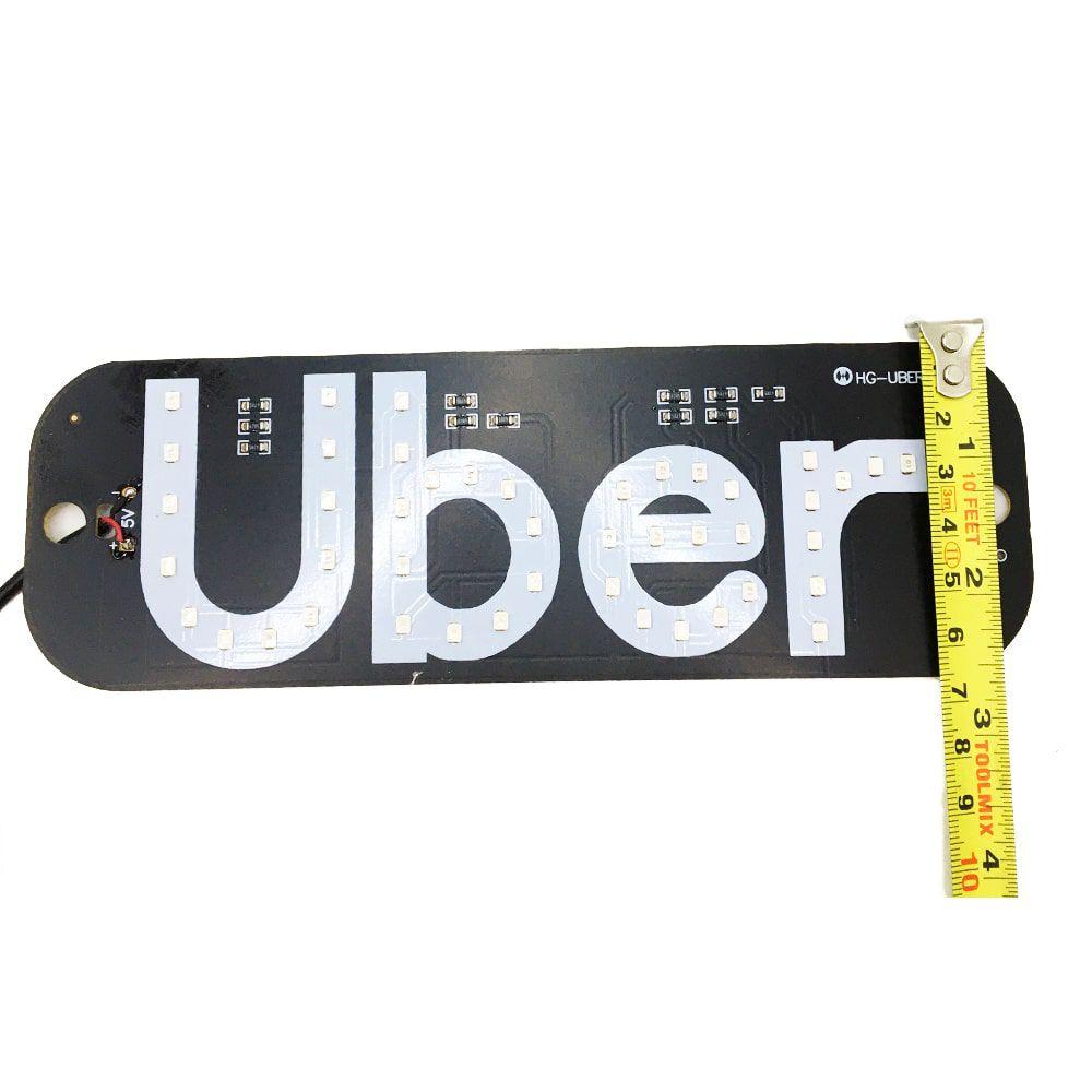 Placa Led Painel Luminoso 5v Uber 2 Ventosas Azul