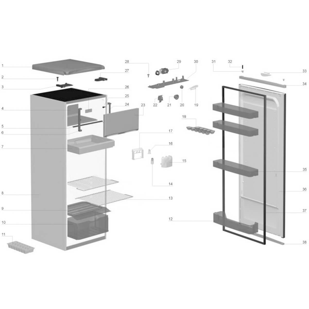 Prateleira Do Refrigerador Electrolux RE31 FRD25E R250N RE26 - 62986739