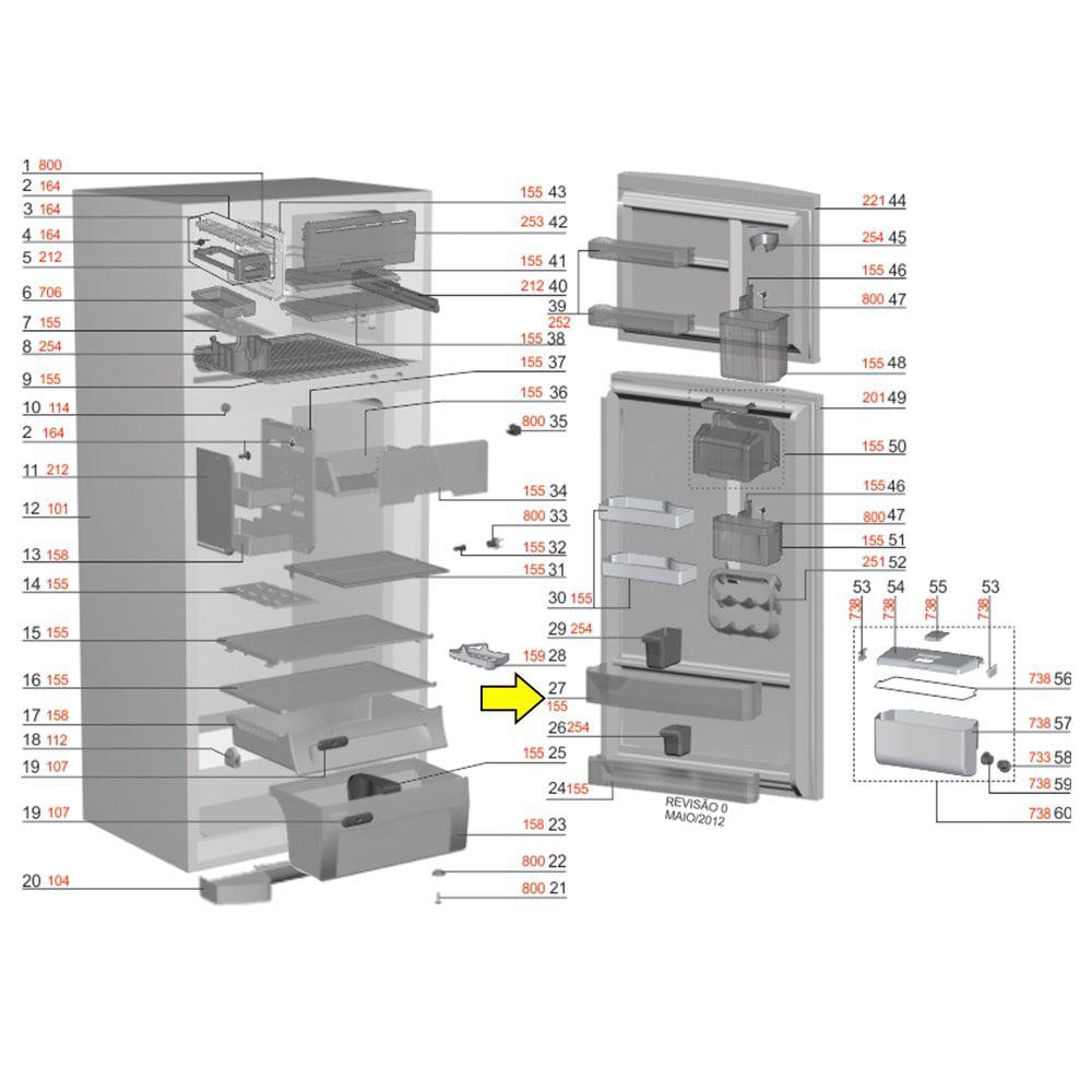 Prateleira Extra Grande Refrigerador Electrolux - 67492089