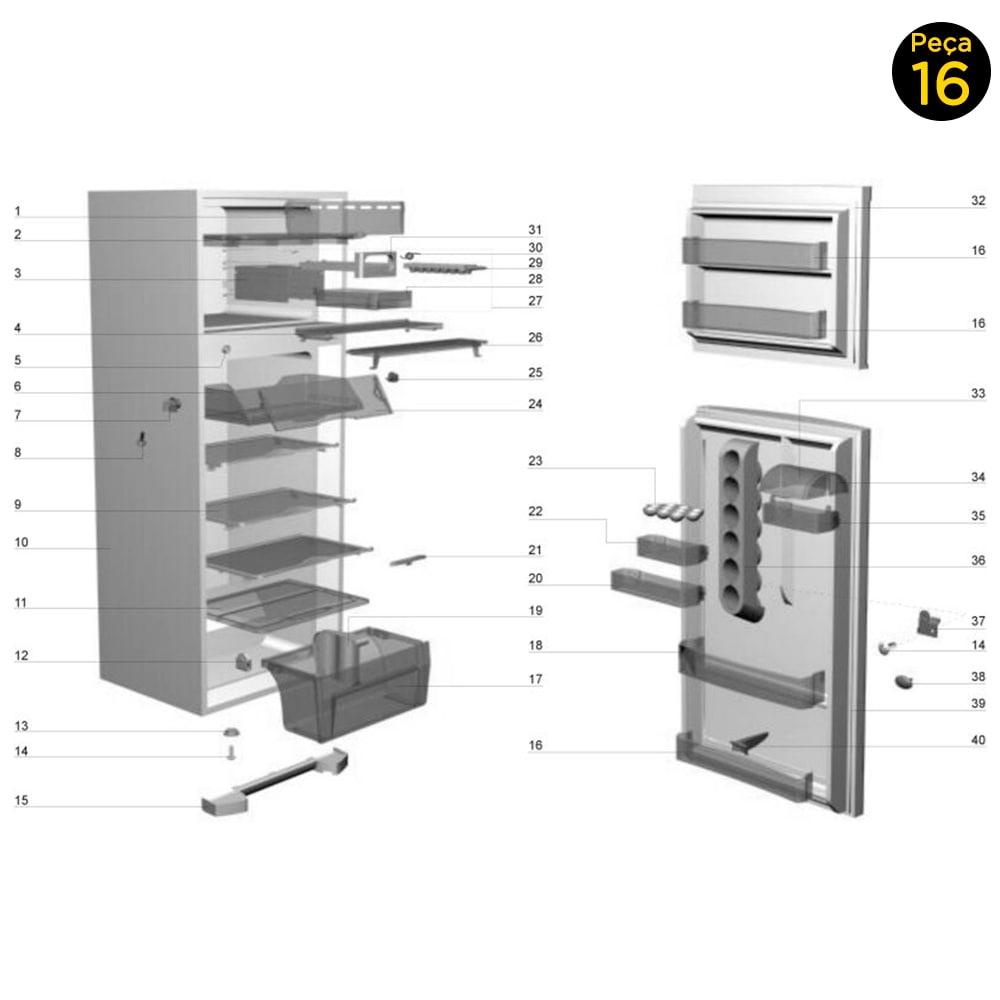 Prateleira Porta Extra Grande Garrafas Electrolux - 77490735