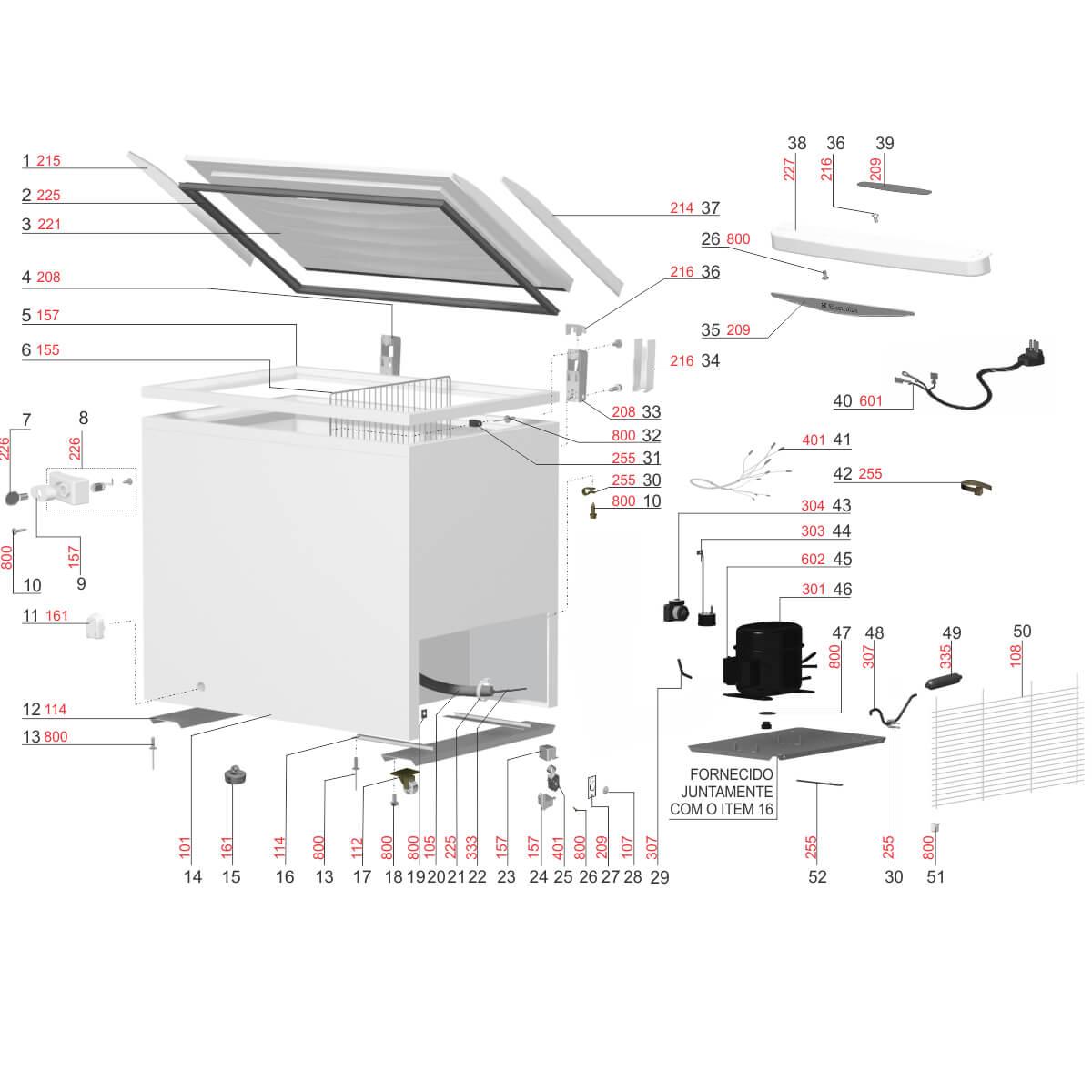 Puxador Branco Para Tampa Freezer Horizontal Electrolux H300 H400 - 77187804