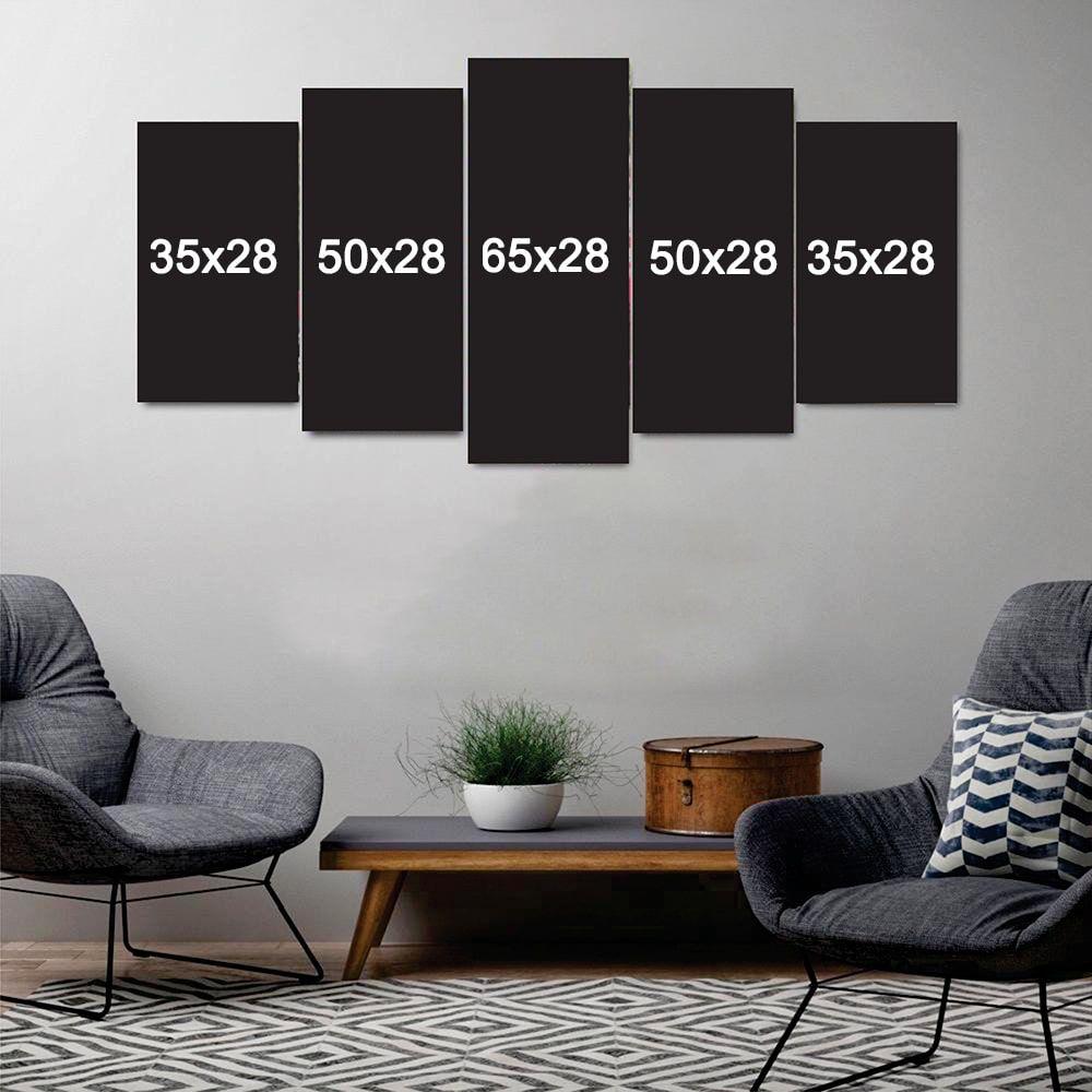 Quadro Basquete Mosaico 5 telas Sala Quarto