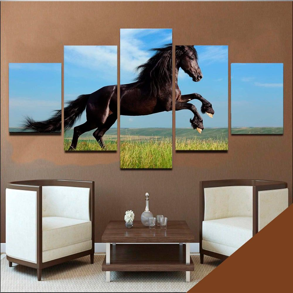 Quadro Cavalo Mosaico 5 telas Sala Quarto