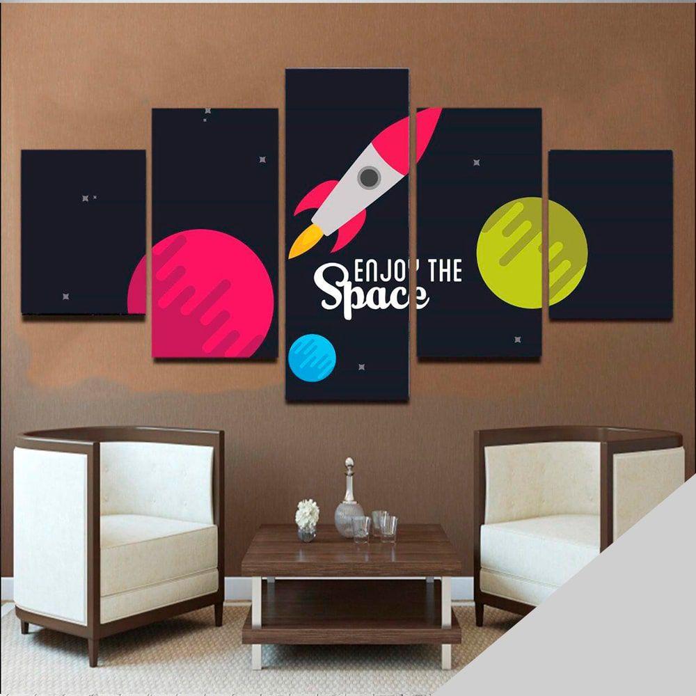 Quadro Espaço Mosaico 5 telas Sala Quarto