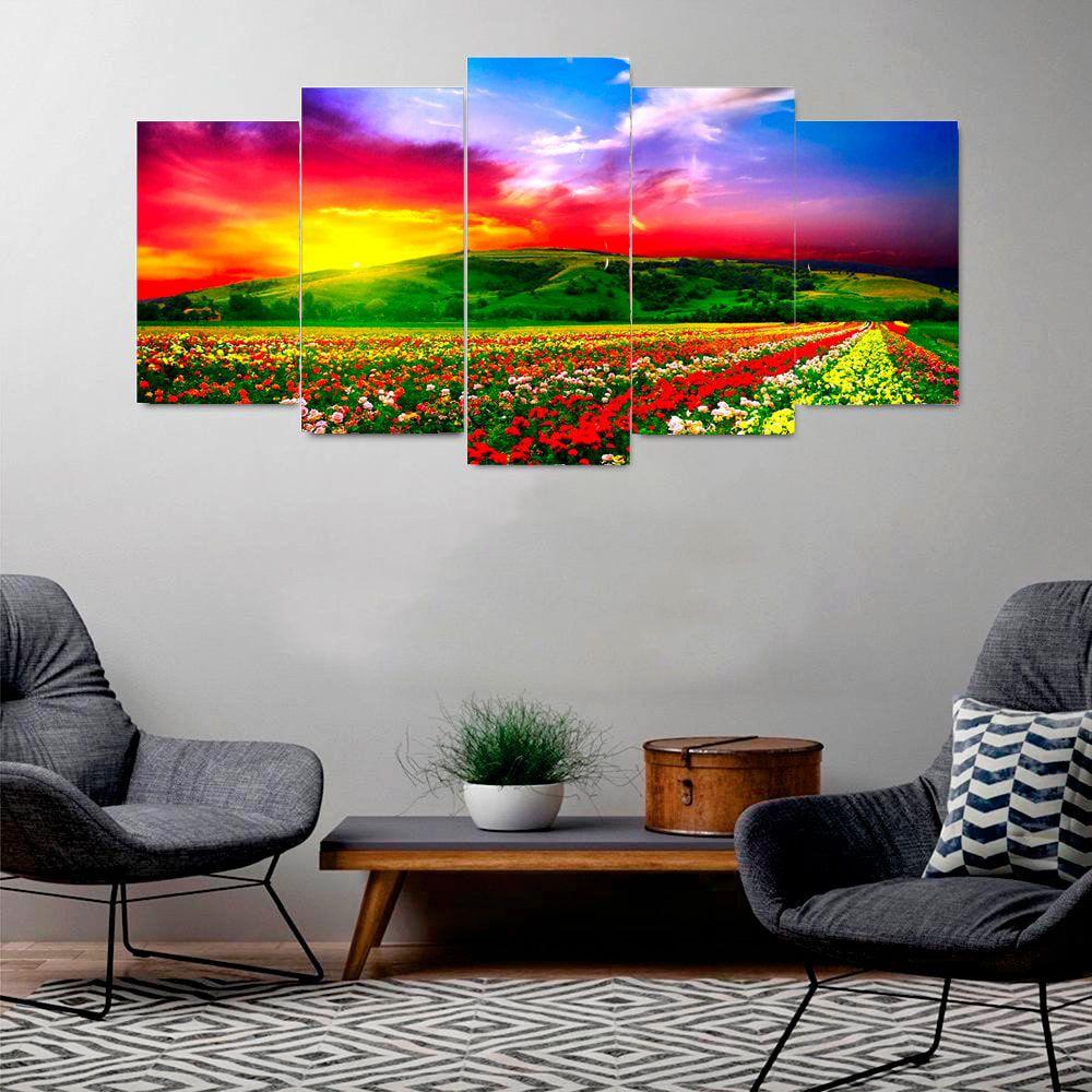 Quadro Flores Arco Íris Mosaico 5 telas Sala Quarto