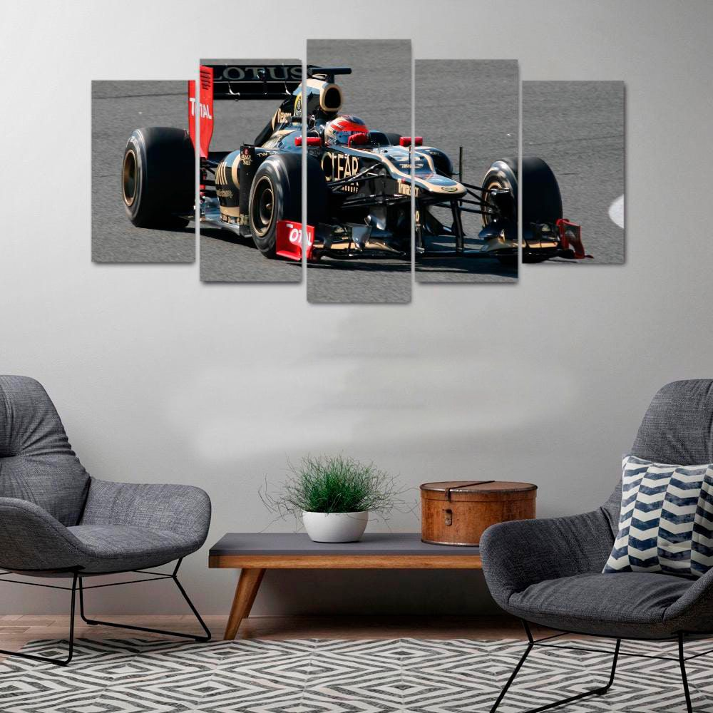 Quadro Fórmula 1 Mosaico F1 5 telas Sala Quarto